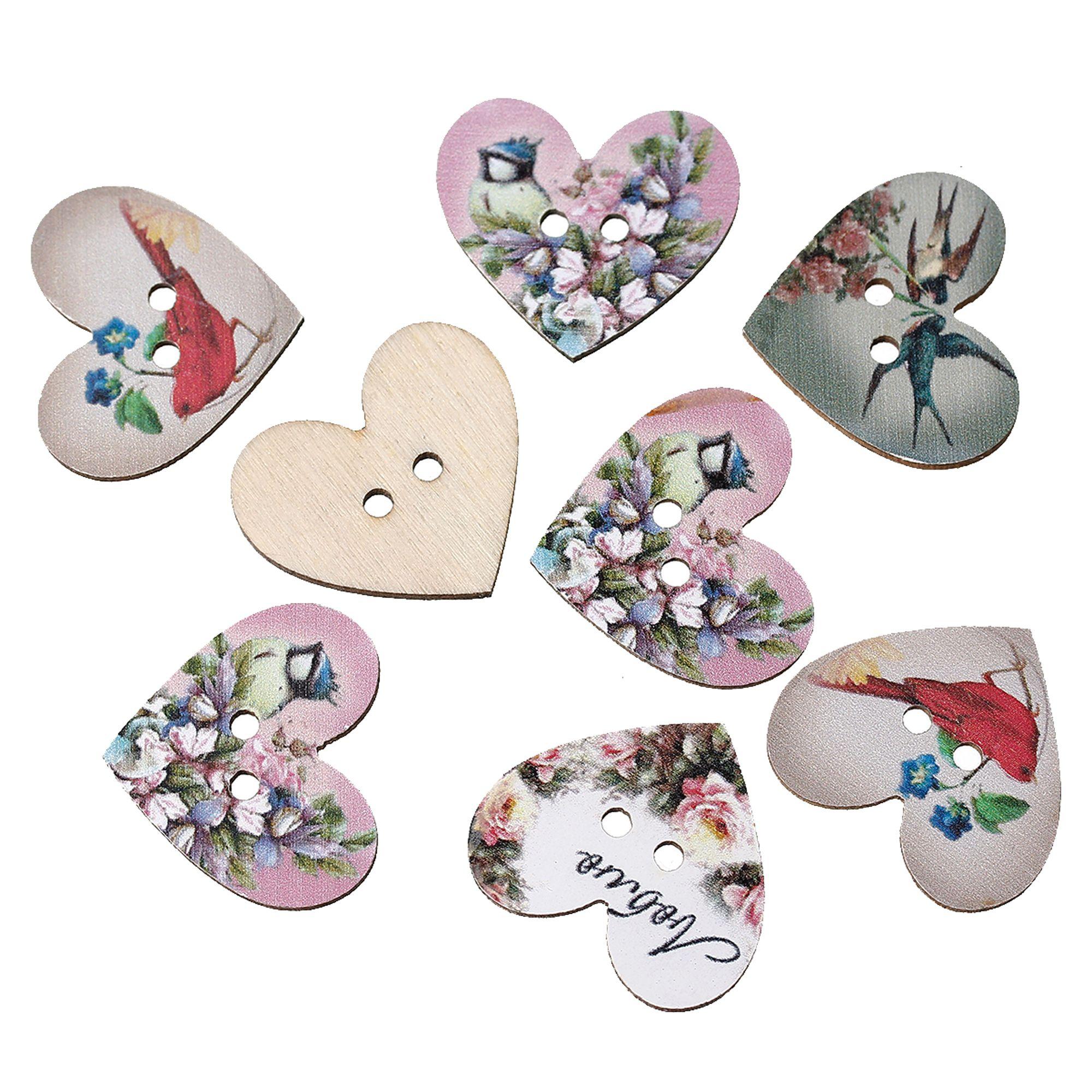 Perlen kaufen  10 Holz Herz Knöpfe 28x24mm Blumen Mix Nähen Scrapbooking 2 ...