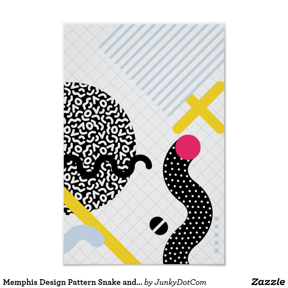 Zazzle poster design - Memphis Design Pattern Snake And Worms Poster June 16 2017 Zazzle Junkydotcom Summer