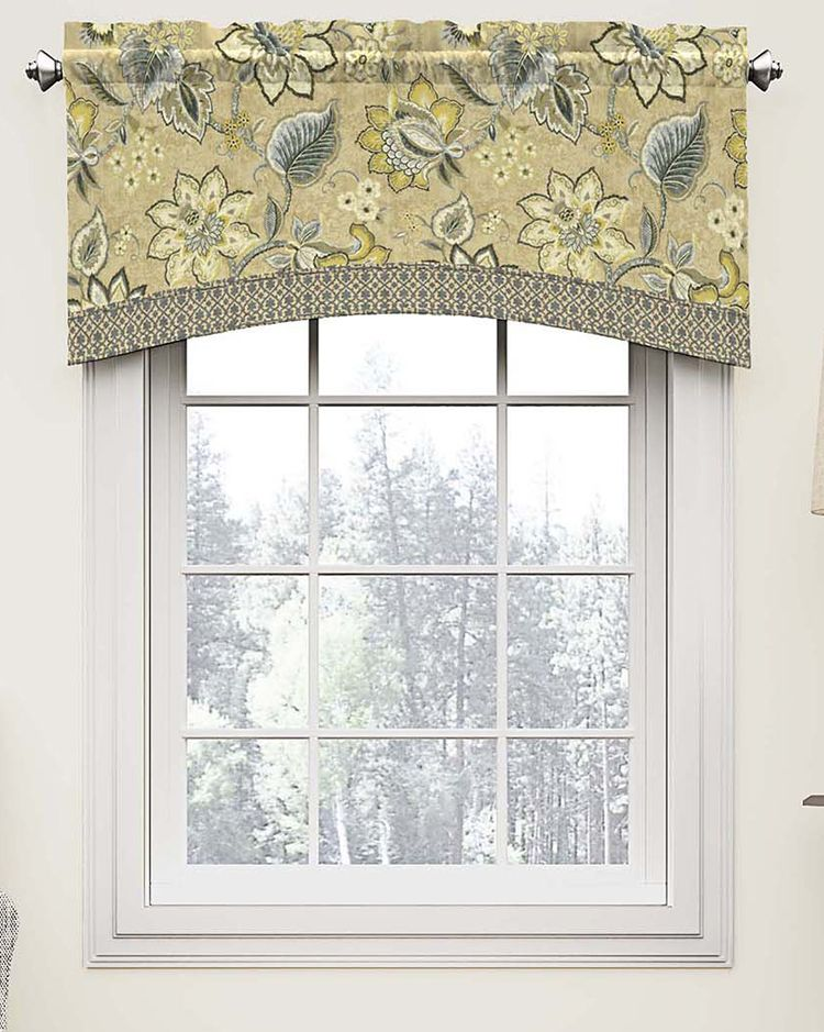 The Brighton Blossom By Waverly Valance Features Jacobean Floral In Saturated Hues Modern Geometric Trim Adds Style Valance Waverly Valances Modern Valances
