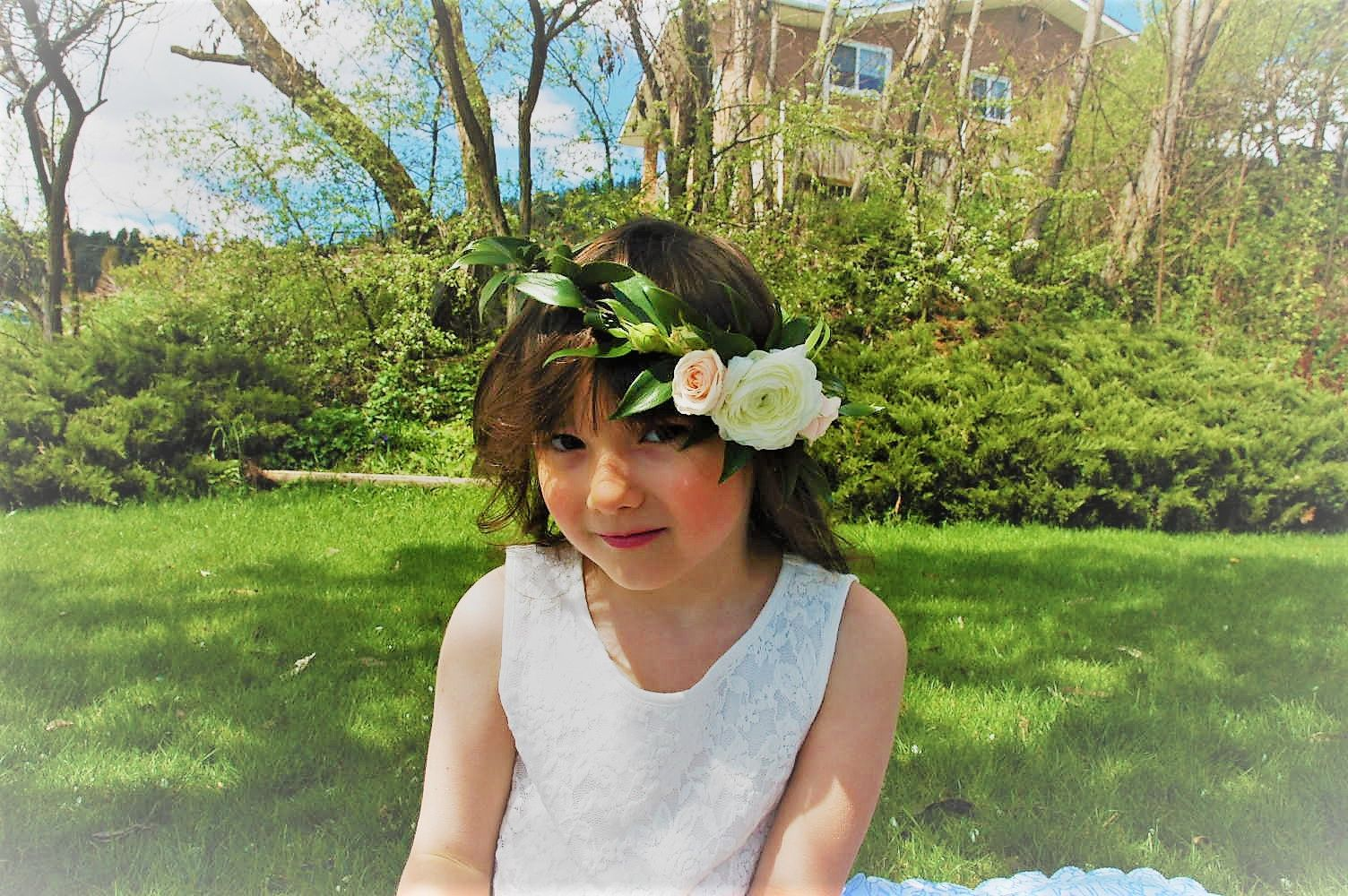Tea Party Or Flower Girl Crown Featuring Italian Ruscus Ranunculus And Pink Spray Roses