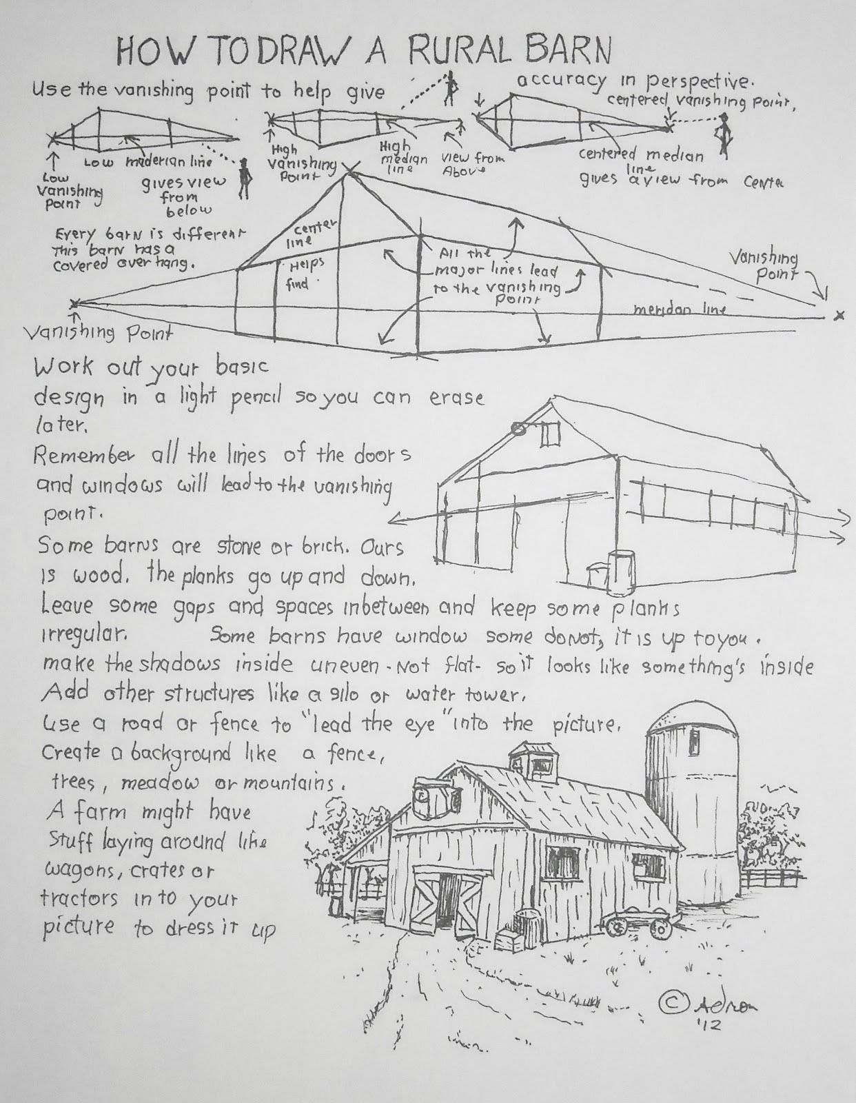 How To Draw A Barn How To Draw Worksheets For Young Artist How To