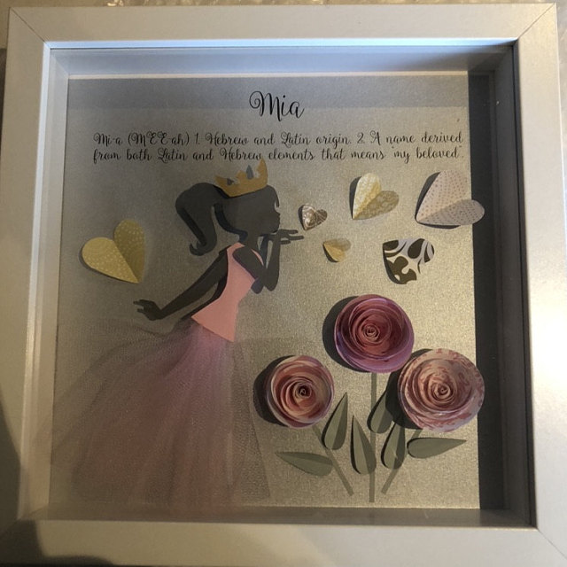 Personalized Baby Name Frame with Meaning & Origin 3D