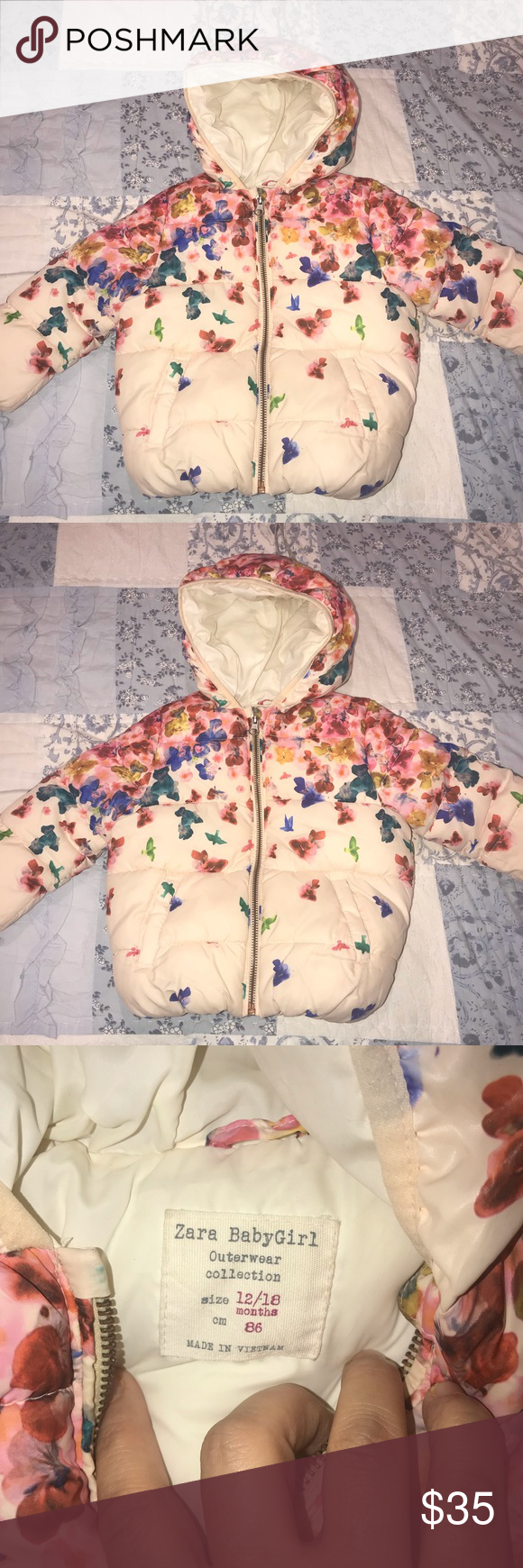 9900d7ba8dd2 Zara baby girl puffer Coat size 12-18 months in 2018