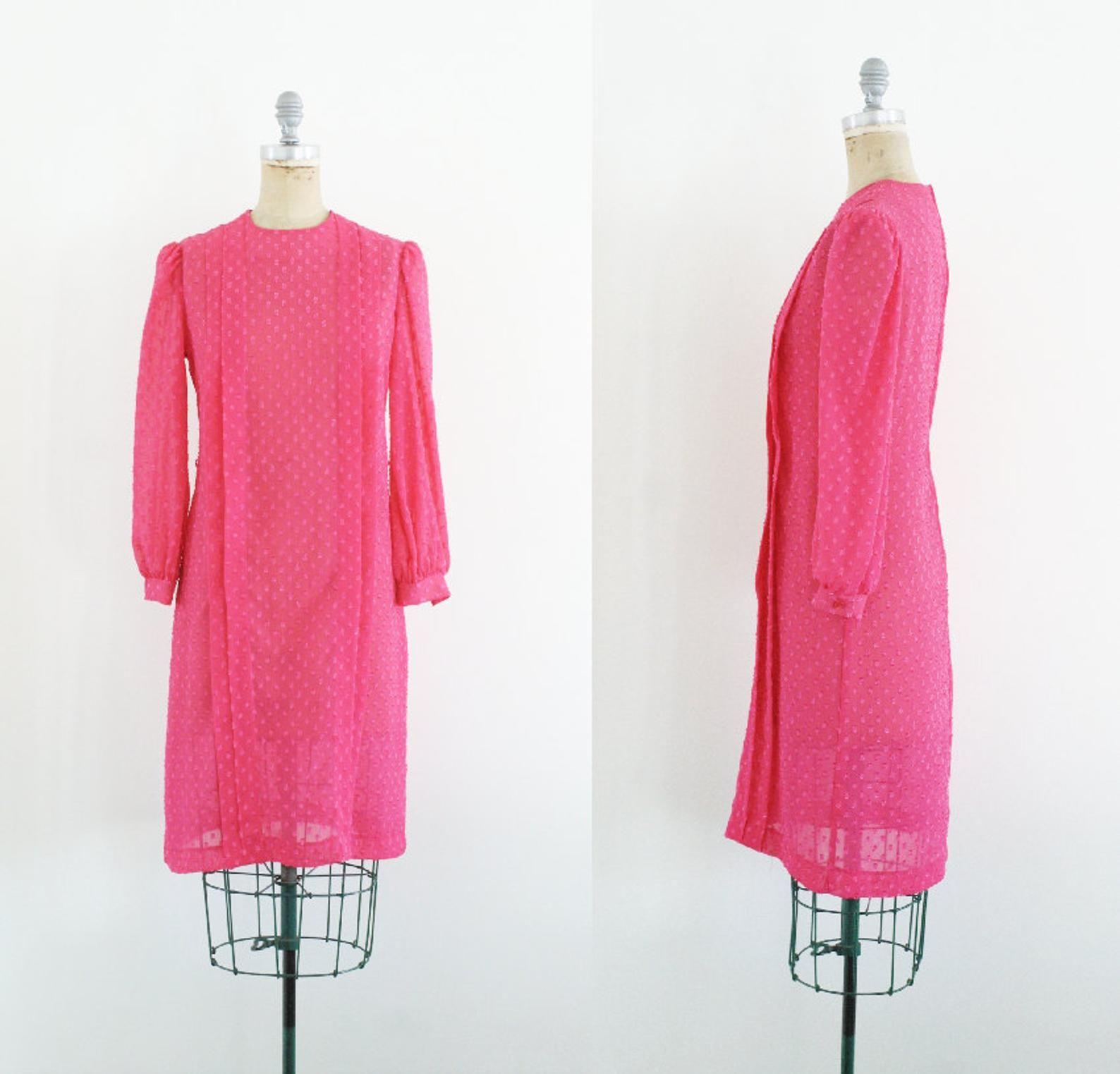 Vintage 1970s Hot Pink Polka Dot Dress Swiss Dots Dress 70s Shift Dress Pink Shift Dress Pink Swiss Dots Dress Sheer Size 8 S