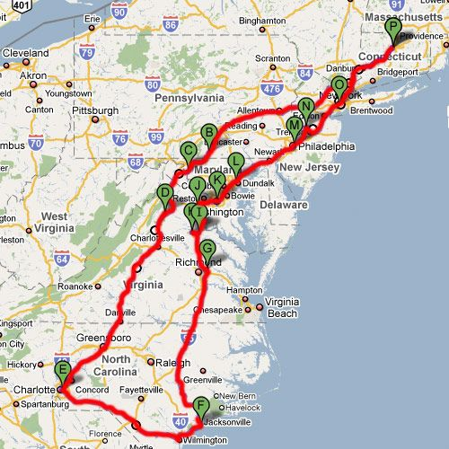 Civil War Road Trip Route