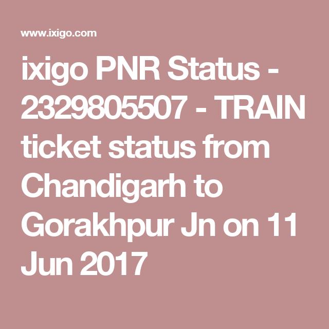 ixigo PNR Status - 2329805507 - TRAIN ticket status from Chandigarh
