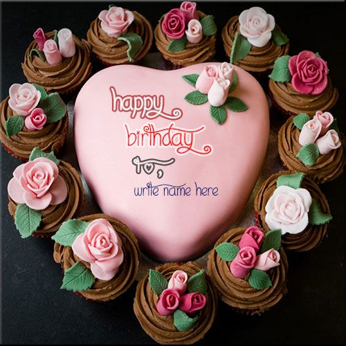 Write Your Name Heart Shaped Birthday Cake For Girls. Free