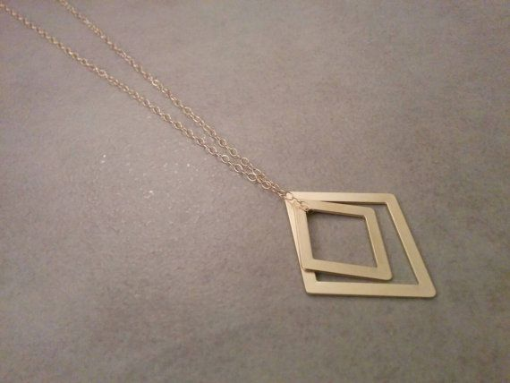 Geometric Necklace Gold Necklace Long Necklace by HilaAssaJewelry