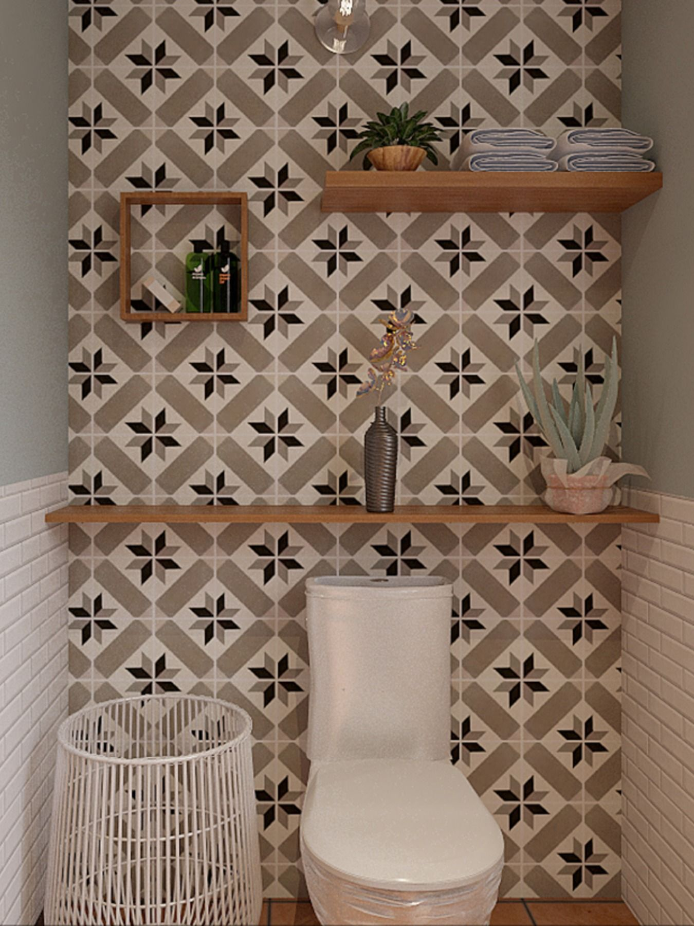 Des Carreaux De Ciment Pour La Deco De Vos Wc Idee Deco Toilettes Decoration Toilettes Idee Deco Wc