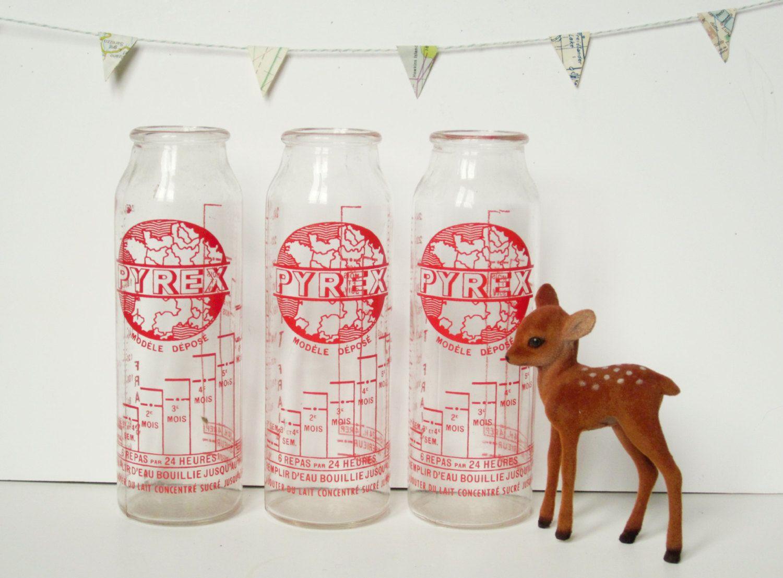 3 vintage french feeding bottles - Milk - glass baby ...