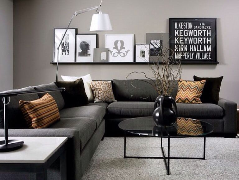 Majority Wall Color And Shelf Idea For Wall Behind Couch Small Living Room Design Gray Living Room Design Living Room Grey