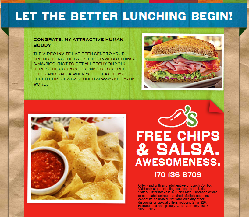 Free Chips Salsa With Your Entree At Chilis Coupon Via The Coupons App Chips And Salsa Chilis Coupons Chips