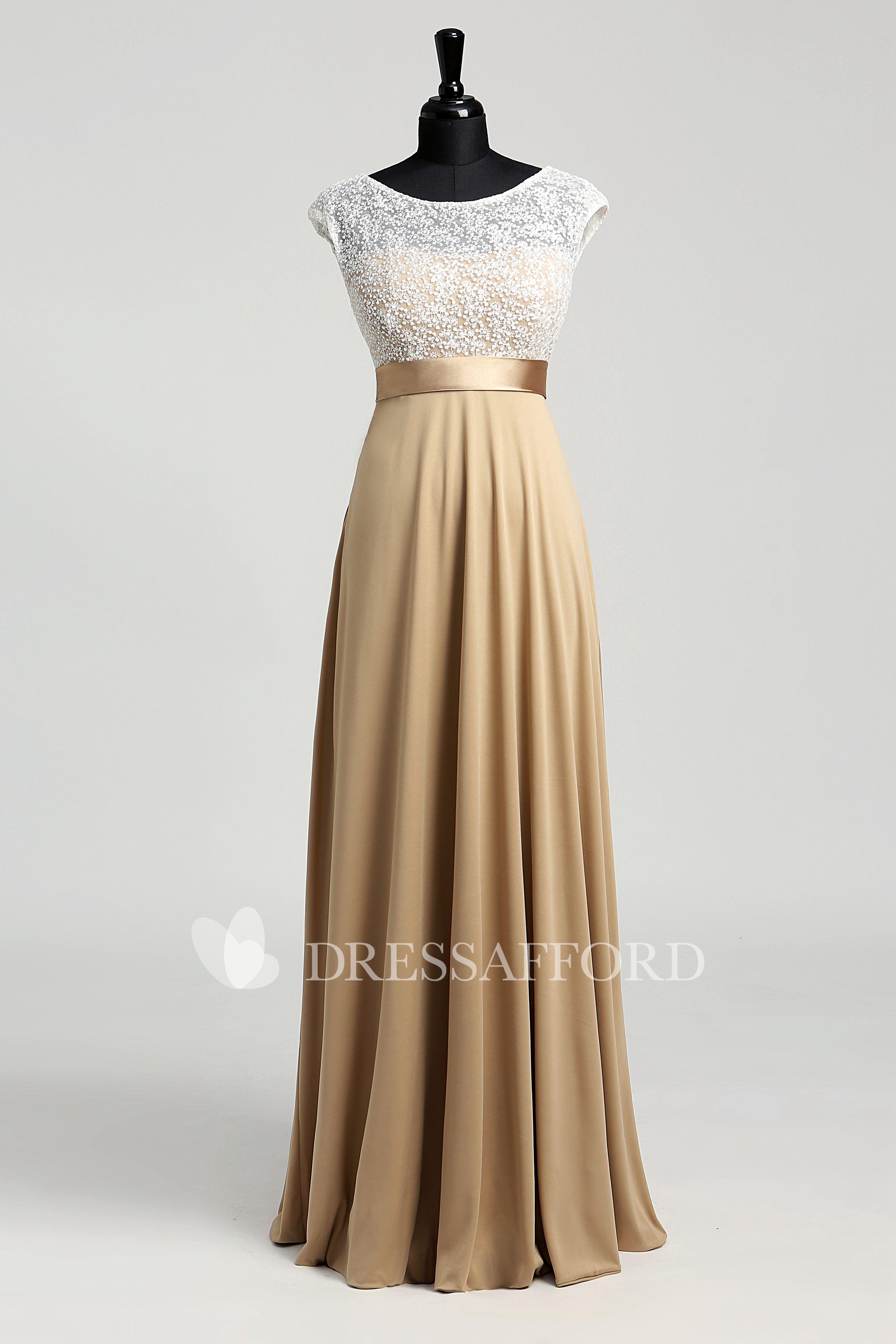 74bc19c78c9 A-line Jersey Lace Bateau Floor-length Short Sleeve Lace Dress with  Sash Ribbon