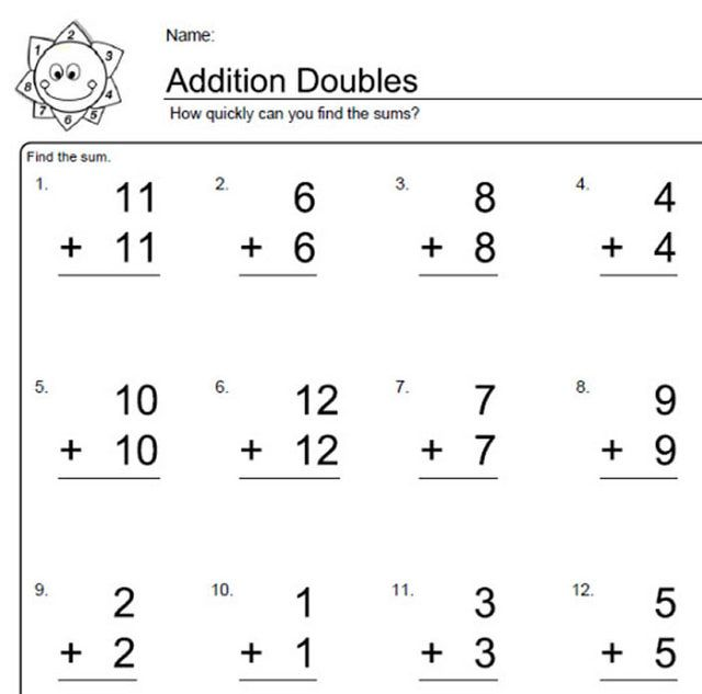 Worksheets For Elementary Math Doubles Addition  Doubles