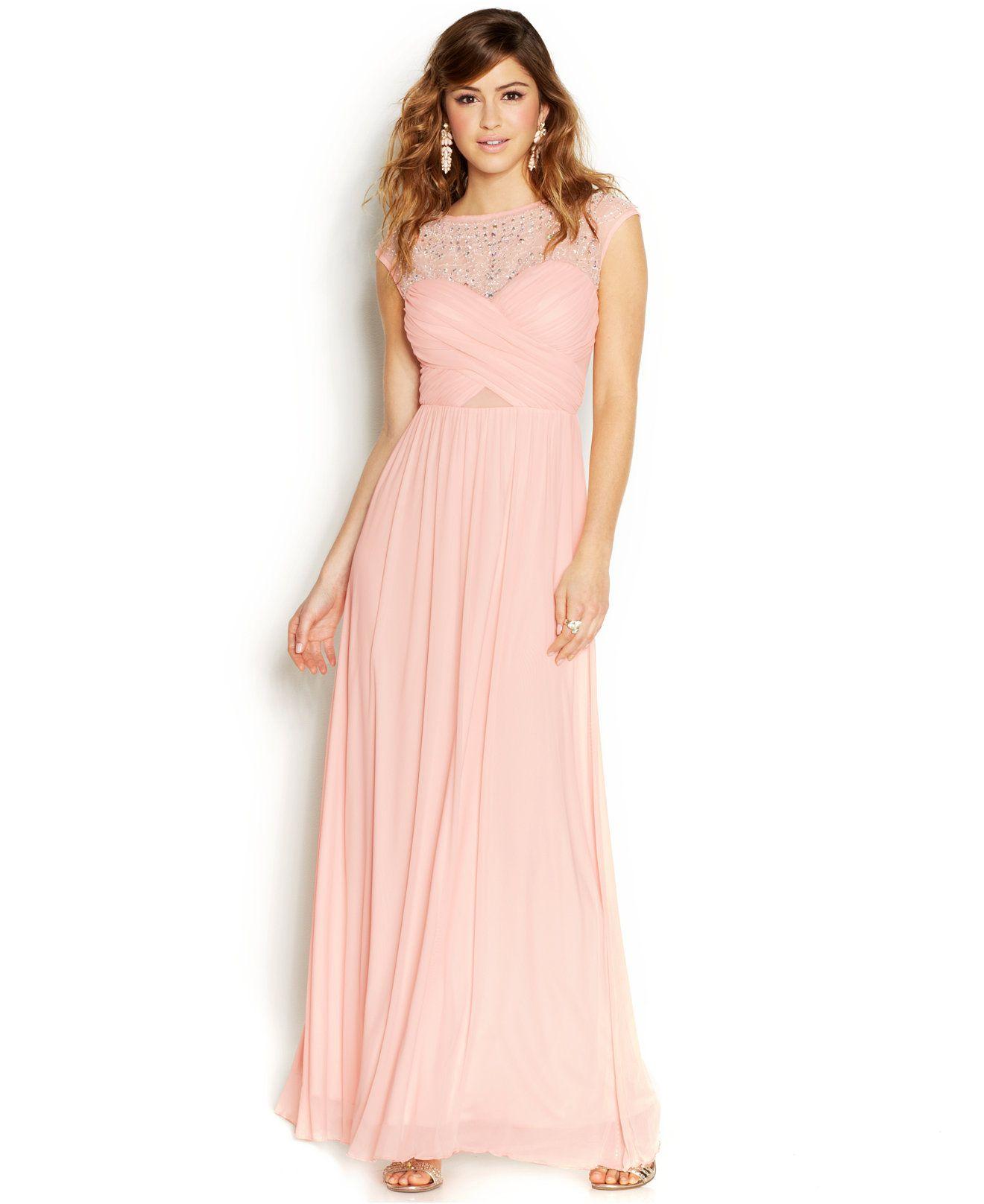 2fb98cc4be3 B Darlin Juniors  Beaded Illusion Gown - Juniors Shop All Prom Dresses -  Macy s