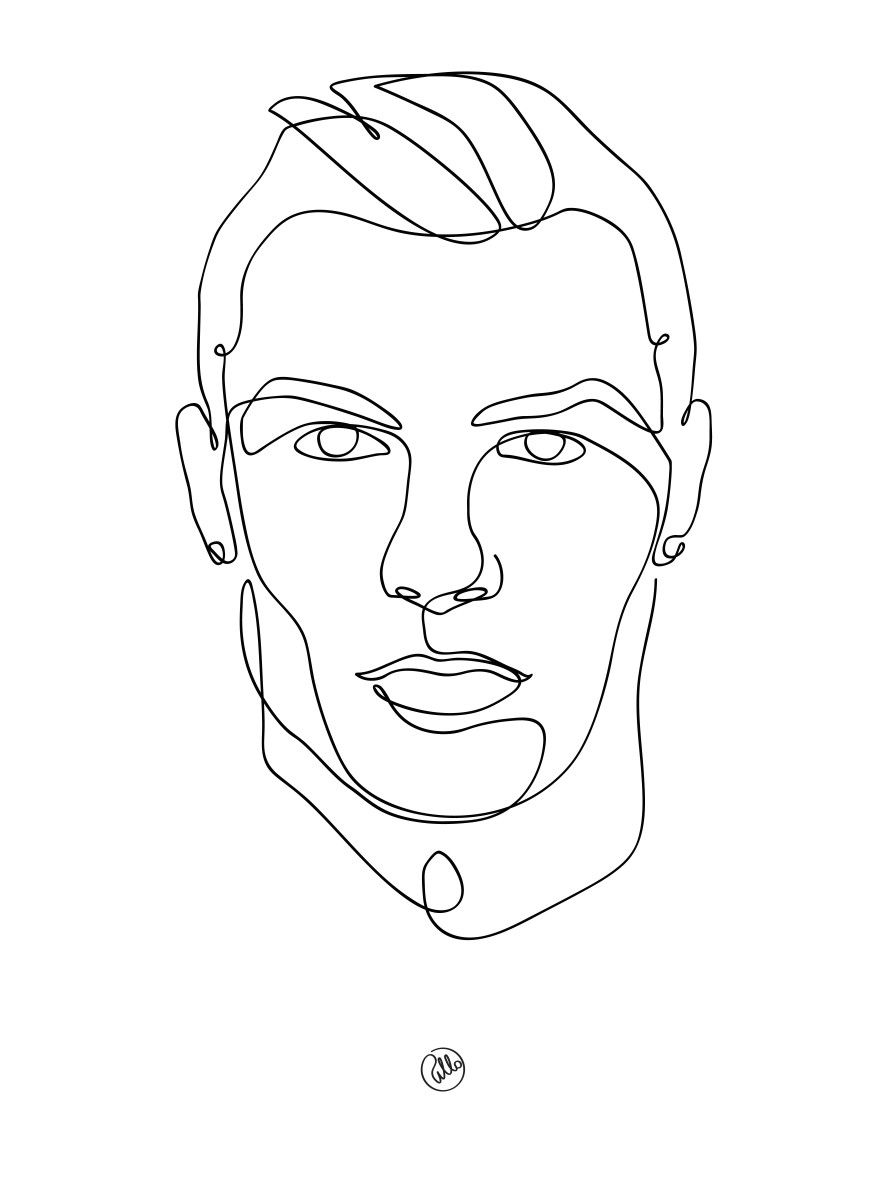 Cristiano ronaldo cr7 one line drawing a r t in 2019 art