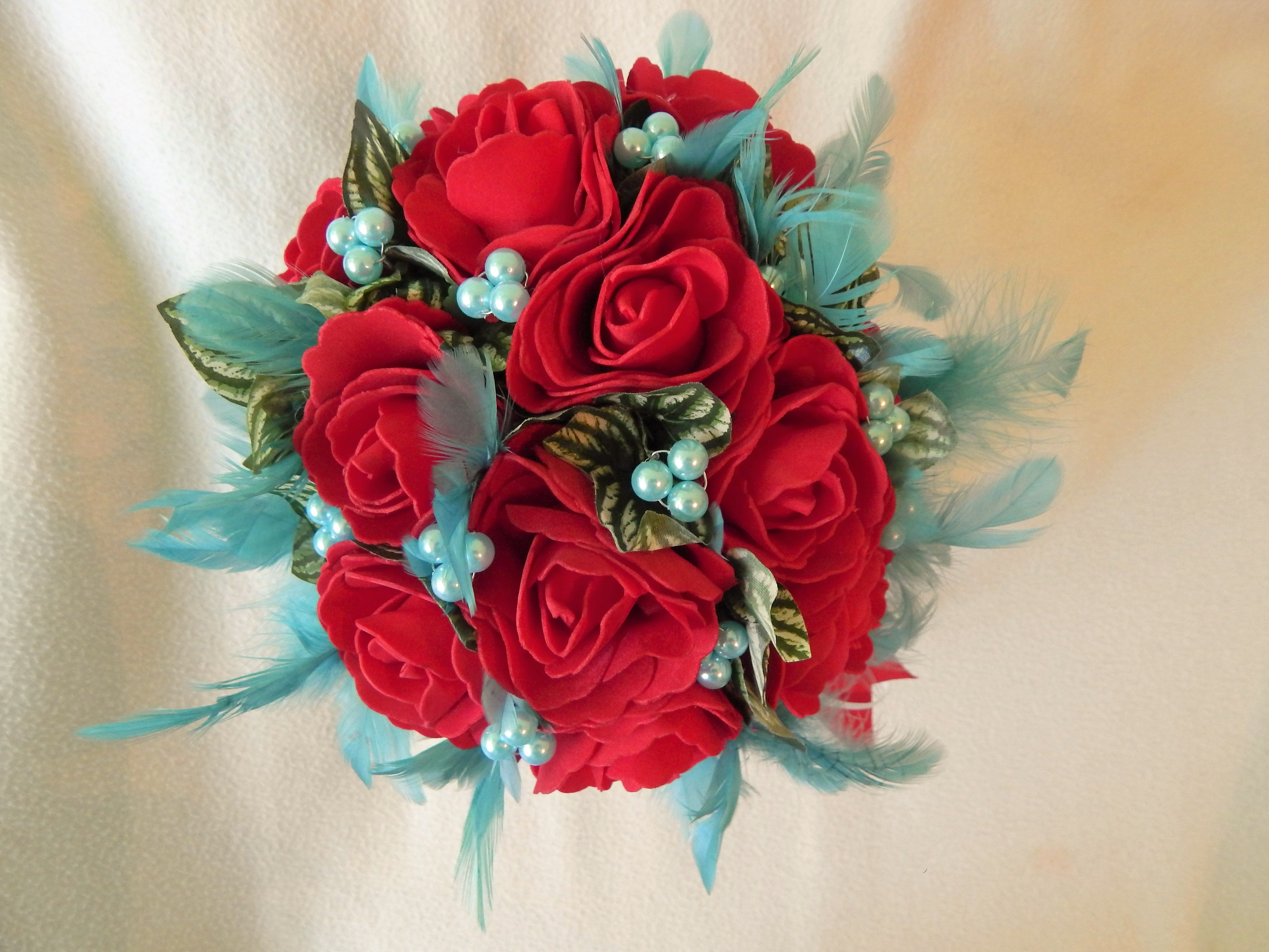 Beautiful handmade red and blue silk flower wedding bouquet us3664 beautiful handmade red and blue silk flower wedding bouquet us3664 mightylinksfo