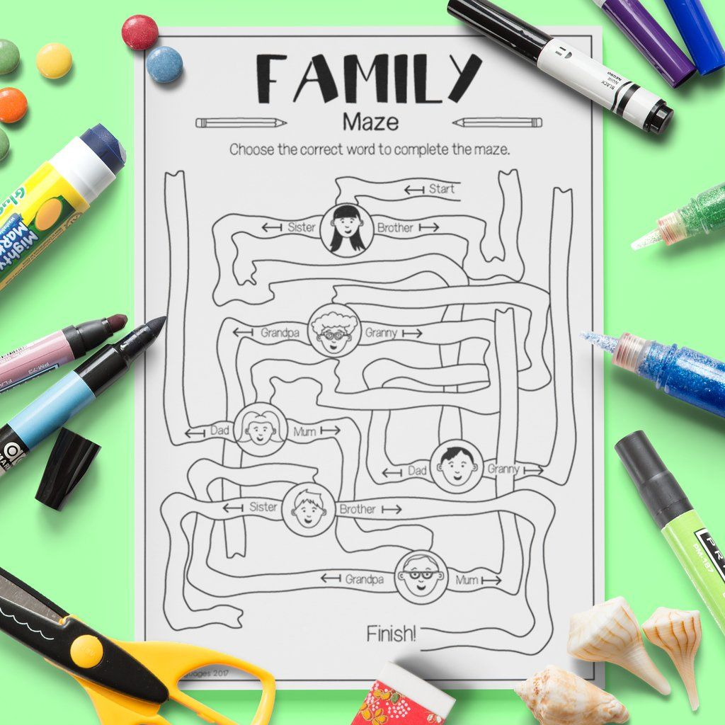 English Family Maze Worksheets Esl