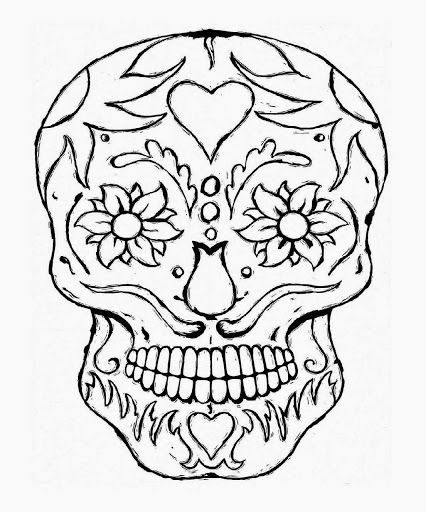 Simple sugar skull coloring pages kids other pinterest for Simple sugar skull coloring pages