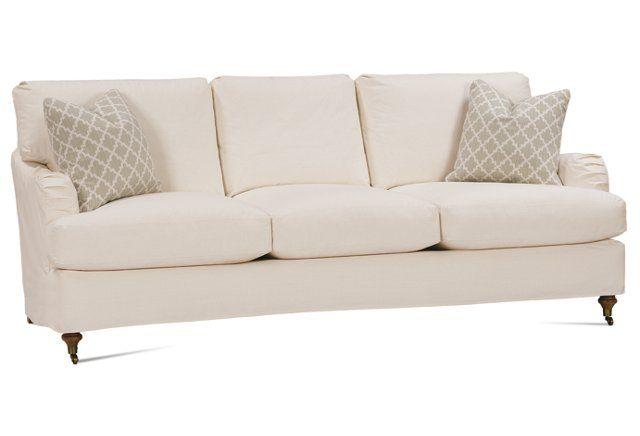 """Brooke 78"""" Slipcovered Sofa, Ecru"""