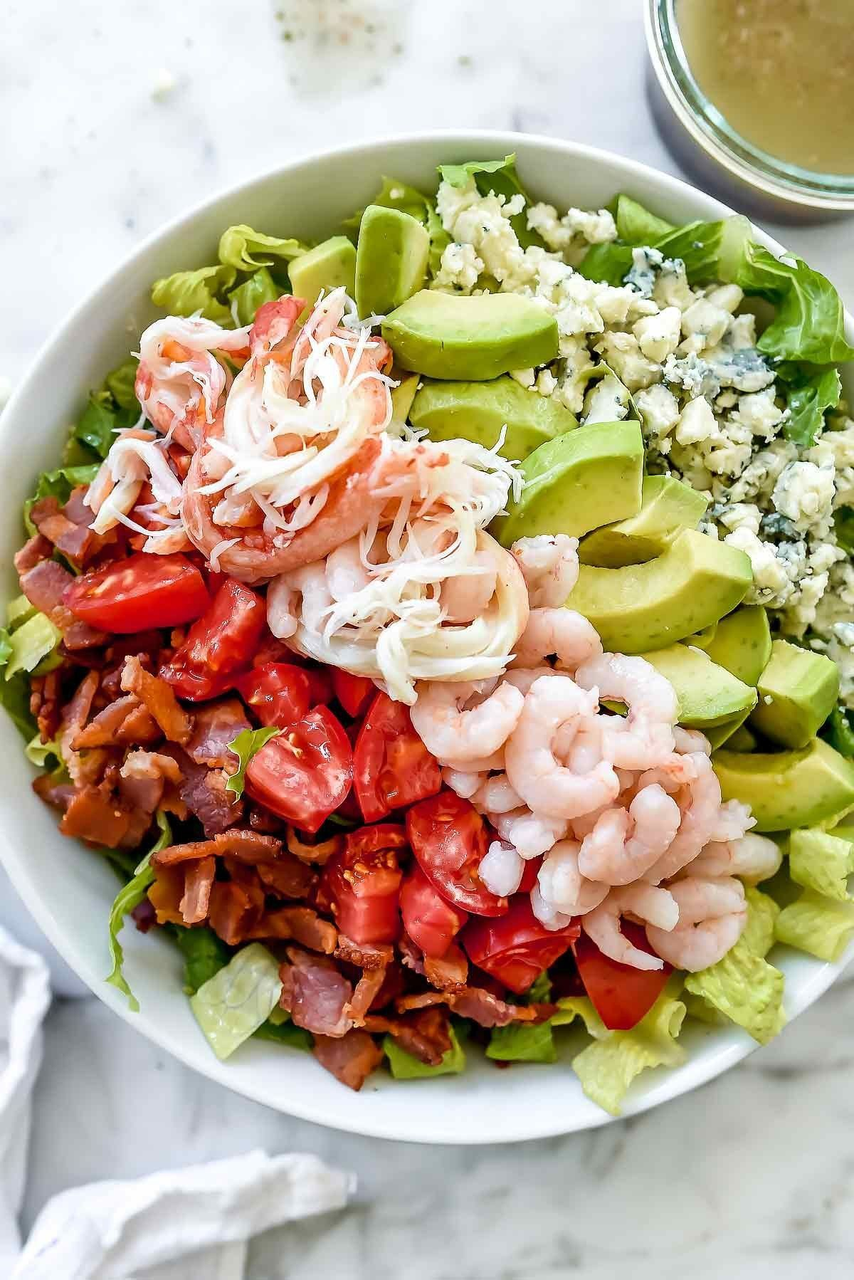 Crab And Shrimp Seafood Cobb Salad By Foodiecrush Recipe Cobb Salad Recipe Salad Seafood Salad