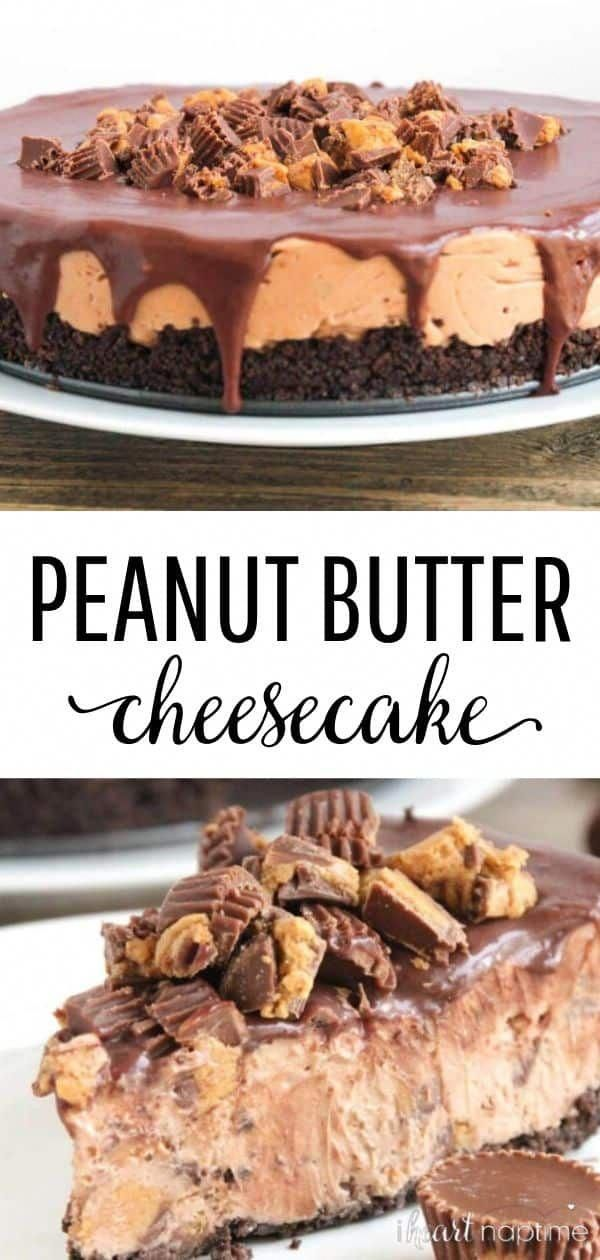 Peanut Butter Cheesecake Reese's No-Bake Chocolate Peanut Butter Cheesecake - A smooth and silky cheesecake studded with chopped Reese's cups and topped with a rich chocolate ganache.