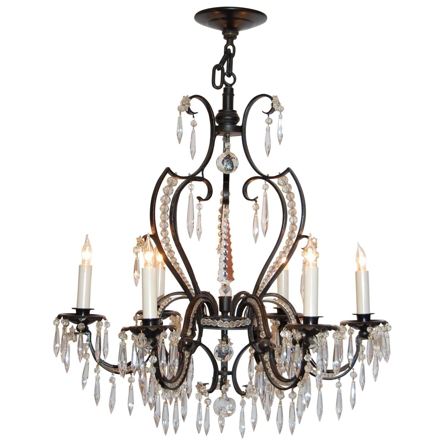 Iron And Crystal Six Light Chandelier Circa 1920s 1930s In 2020 Chandelier Lighting Chandelier Pendant Lights Painting Light Fixtures