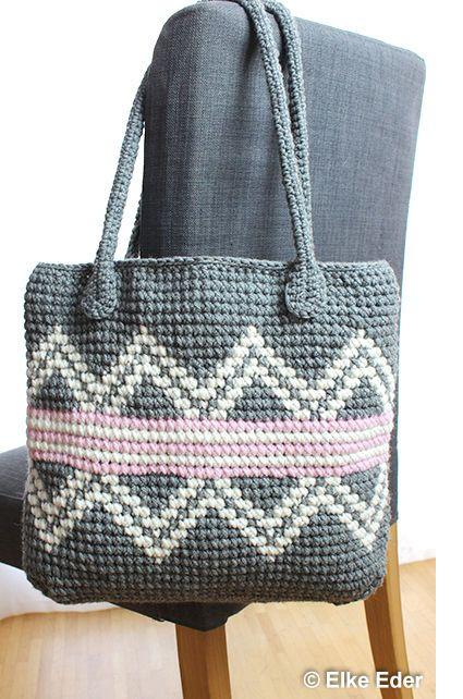 Häkelanleitung für Tasche / Shopper in Grau, Weiß und Rosa mit ...