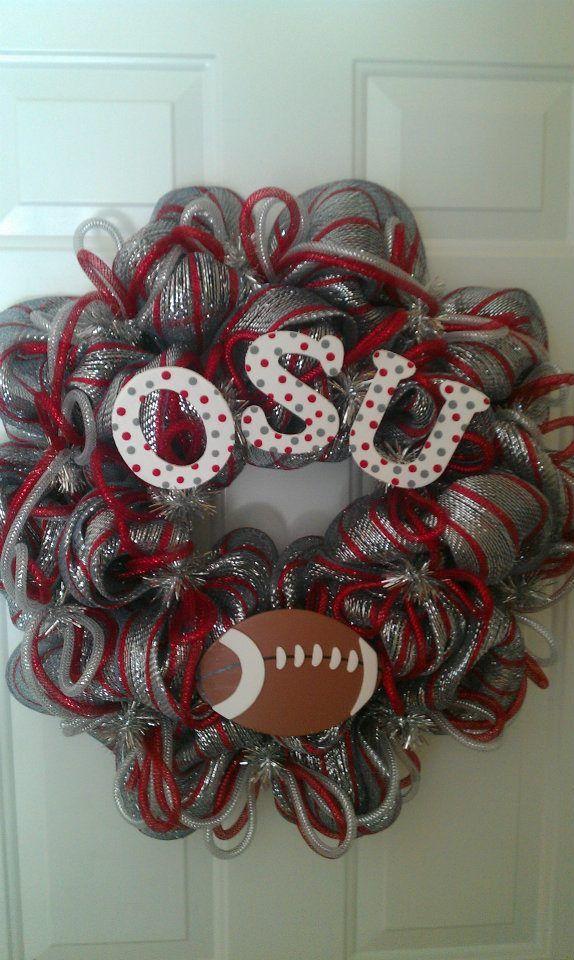 Ohio State University Deco Mesh Wreath | OH-IO! | Pinterest