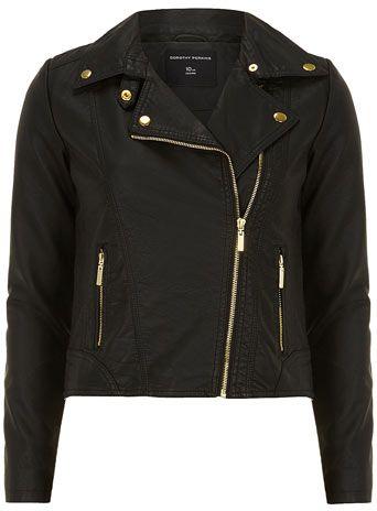 4c842e394 Black gold trim biker - Jackets & Coats - Clothing | Style Inspo ...