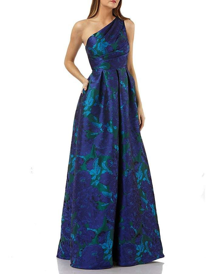 cbbd8cc5525c One Shoulder Floral Print Brocade Gown #Ballgown#fabrication#silhouette