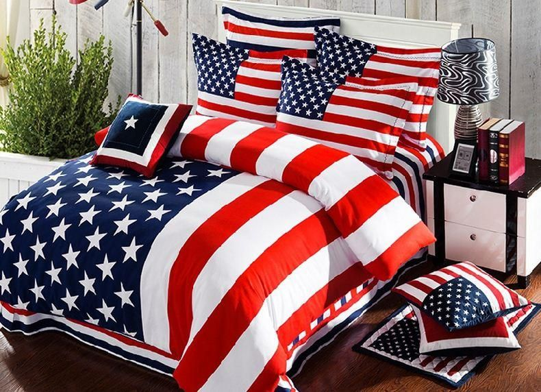 New American Flag Bedding Set Striped Duvet Cover Bed Sheets  EX04