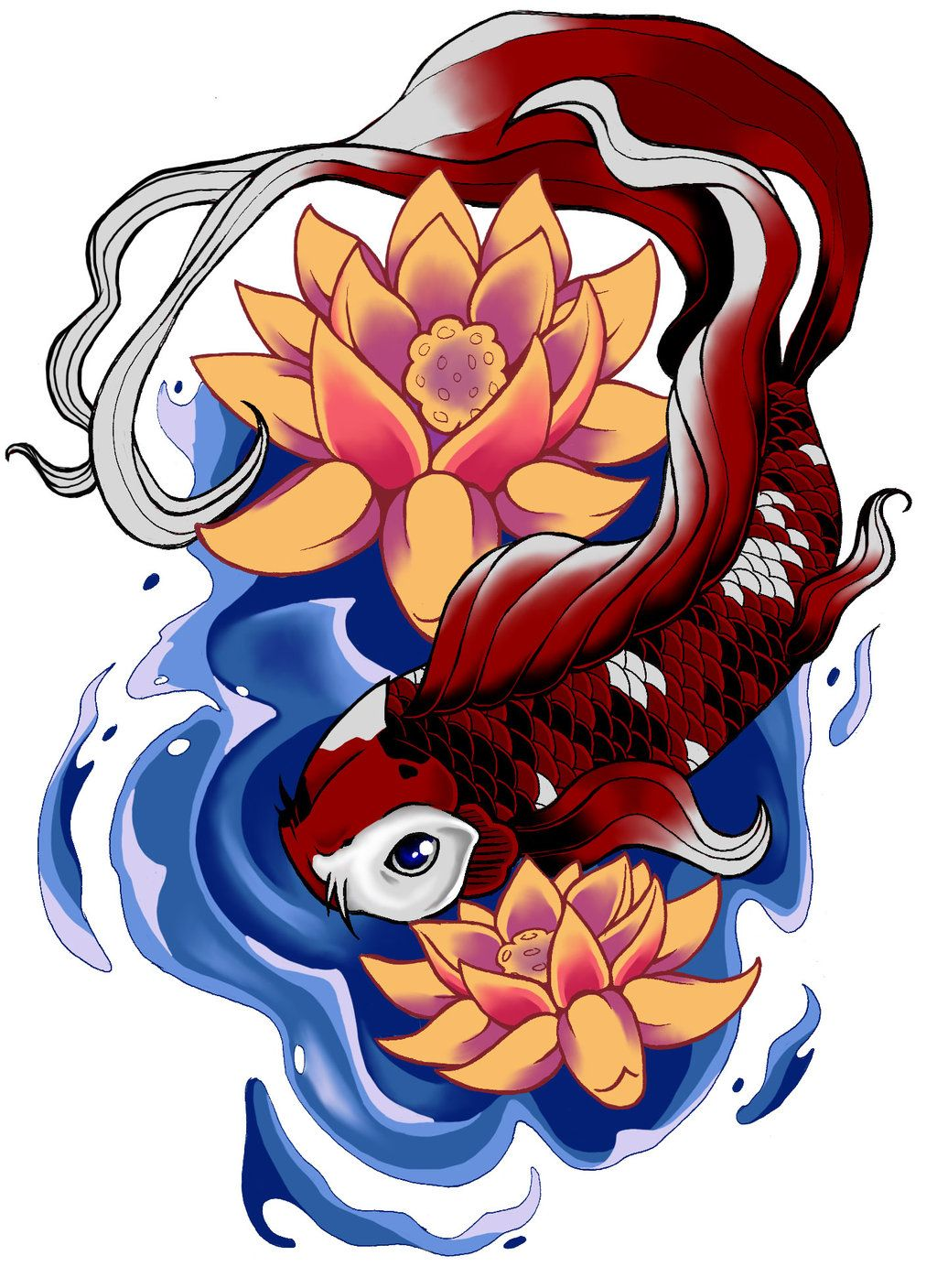 Koi Fish And Lotus Flowers Tattoo Drawing Ink I Like Pinterest