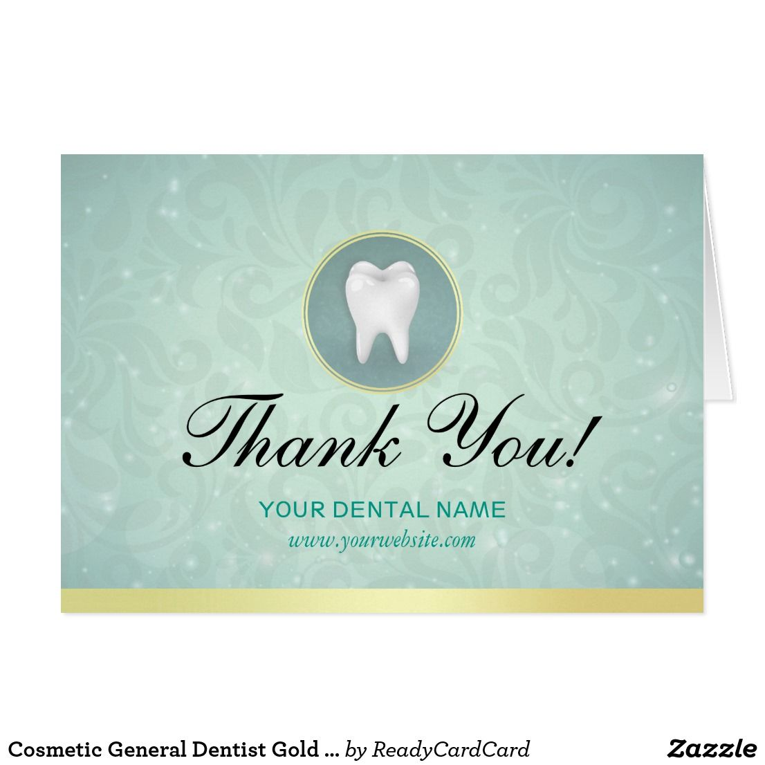 Cosmetic General Dentist Gold Turquoise Thank You Zazzle Com Custom Thank You Cards Dentist Thank You Cards