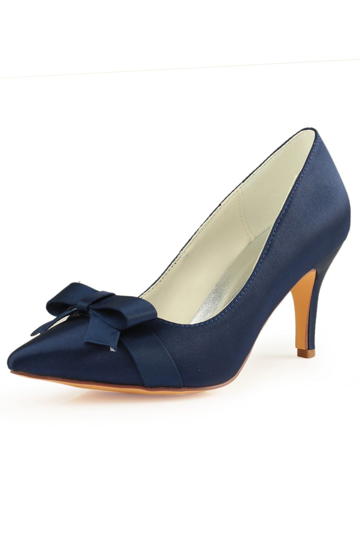Navy Blue High Heels Wedding Shoes With Bowknot Fashion Satin Evening Party Shoes L 942 Navy Blue High Heels Blue High Heels Navy Wedding Shoes