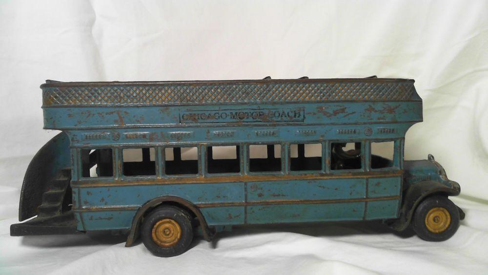 antique vintage arcade metal double decker bus chicago motor coach toy 1920s arcade toy car motorcoach double decker bus pinterest