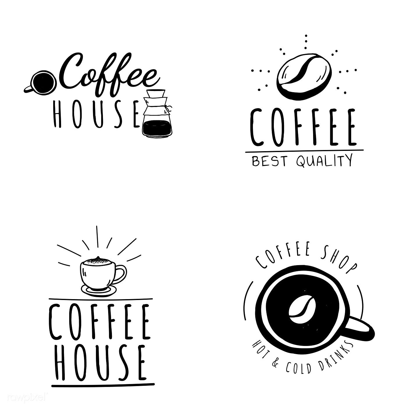 Set of coffee shop logos vector free image by rawpixel