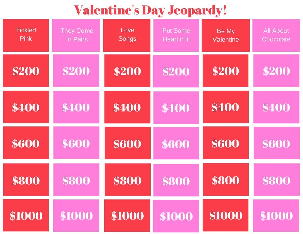 Valentine S Day Jeopardy Printable Game Classroom Game Family