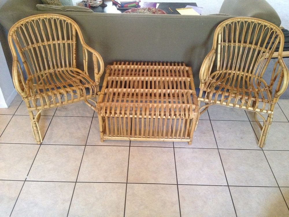 Vintage Bamboo Outdoor Furniture: Two Chairs U0026 One Table Bentwood Rattan  Wicker