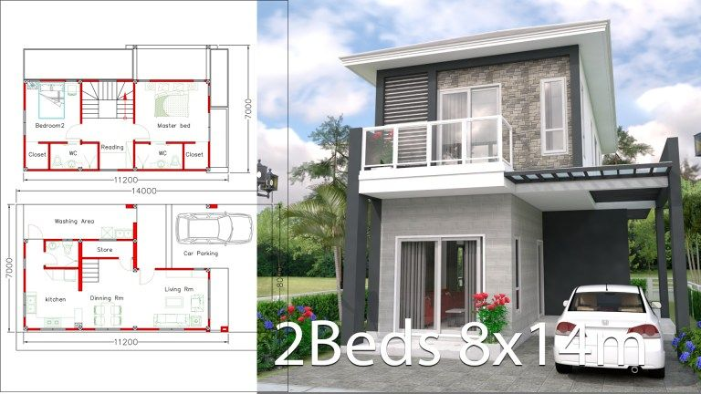 House Plans 8x14m With 2 Bedrooms Home Design Plans House Plans House Design