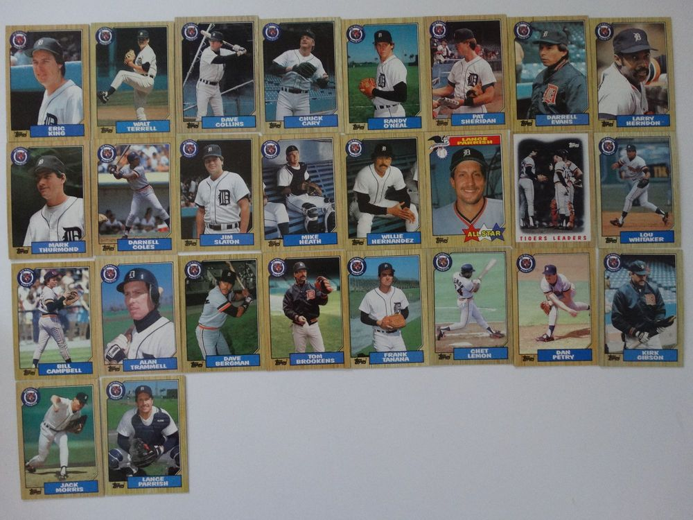 1987 Topps Detroit Tigers Team Set Of 26 Baseball Cards