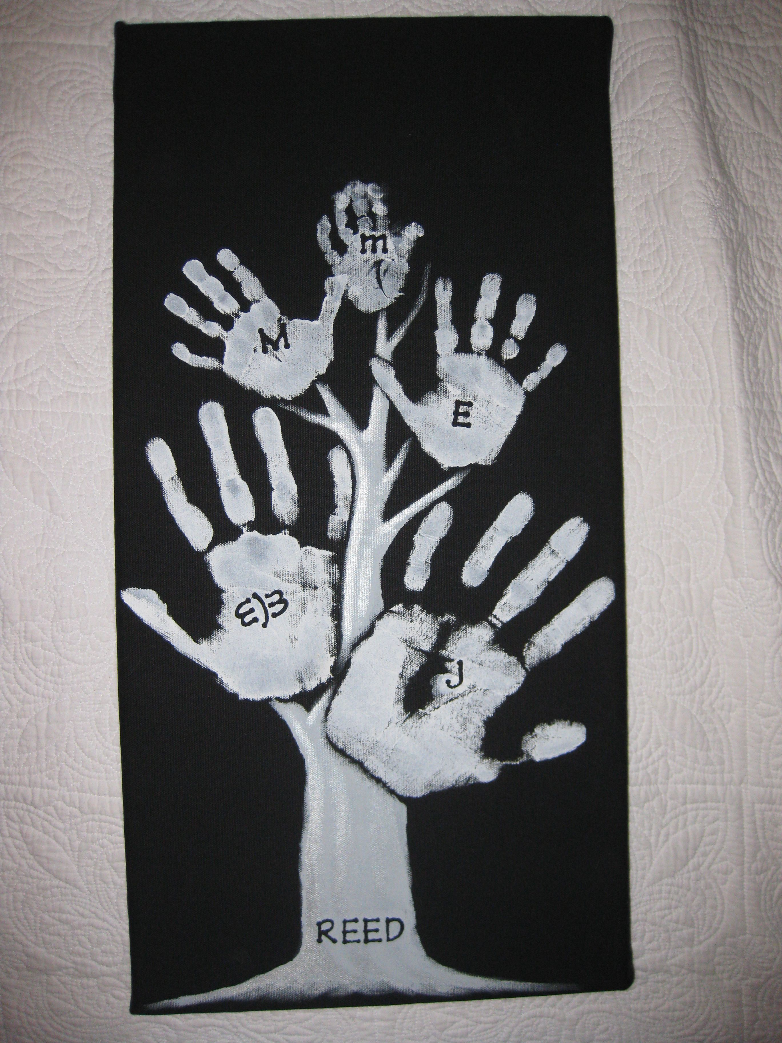 Family Hand Print Tree Hint Place Stickers On Canvas Before