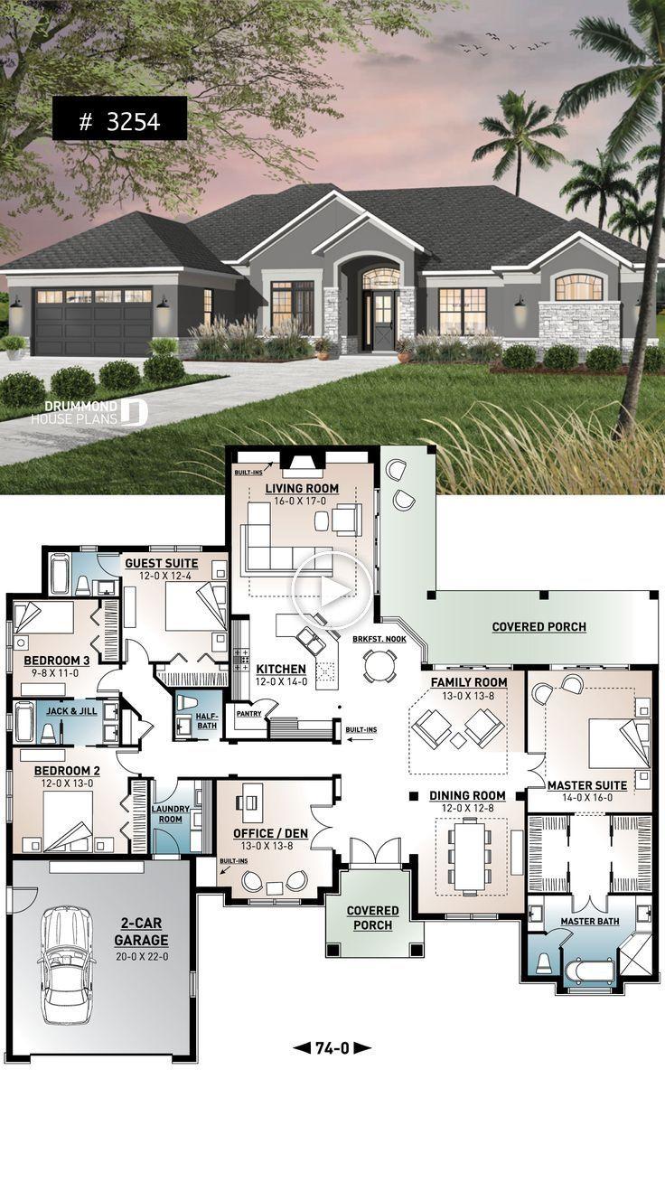 Plan Maison Double Garage 4 Chambres Maison Familiale 4 Chambres Avec Bureau Terrasse Garage Et Cellier Plan Maison 4 Chambres Plan Maison Plan Maison Plain Pied