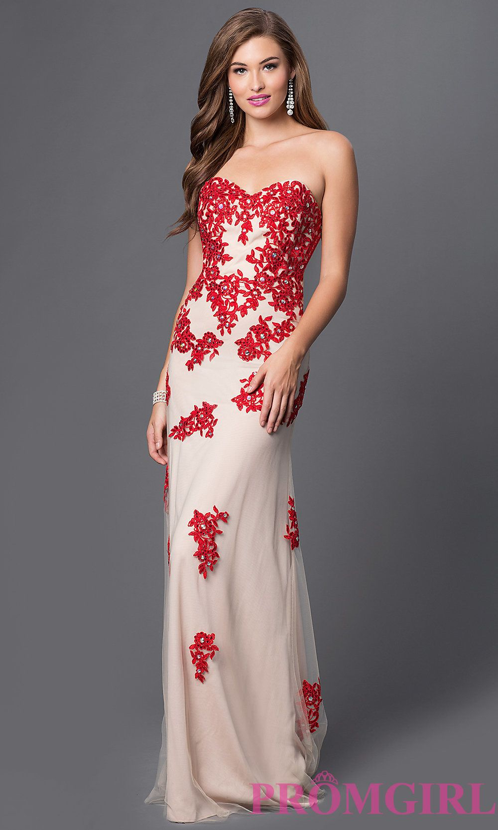 Image of strapless lace gown with corset top style dq front