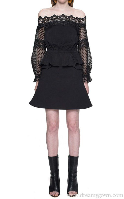2d8f8f0da72f6 Off-shoulder Self Portrait Lace Blouse Top Black