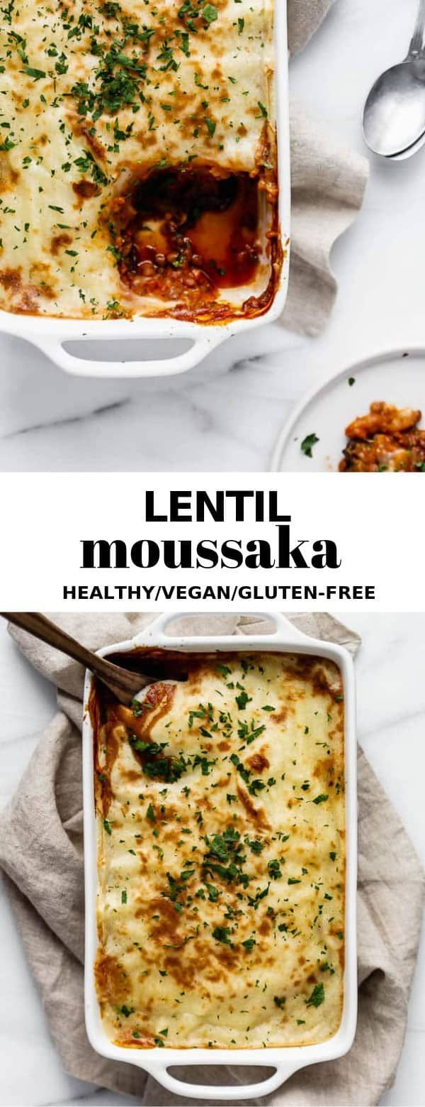This vegan lentil moussaka recipe is layered with eggplant, lentil filling, and topped off with creamy mashed potatoes for a delicious and healthy meal you'll love!