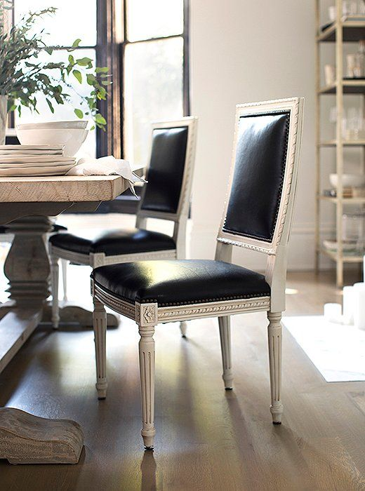 Fantastic Upholstered In Black Leather Our Louis Xvi Style Exeter Spiritservingveterans Wood Chair Design Ideas Spiritservingveteransorg