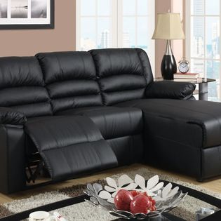 Small Black Leather Reclining Sectional Sofa Set Recliner Right Chaise Perfect For Entertaining Friends Or A Family Movie Night This Large