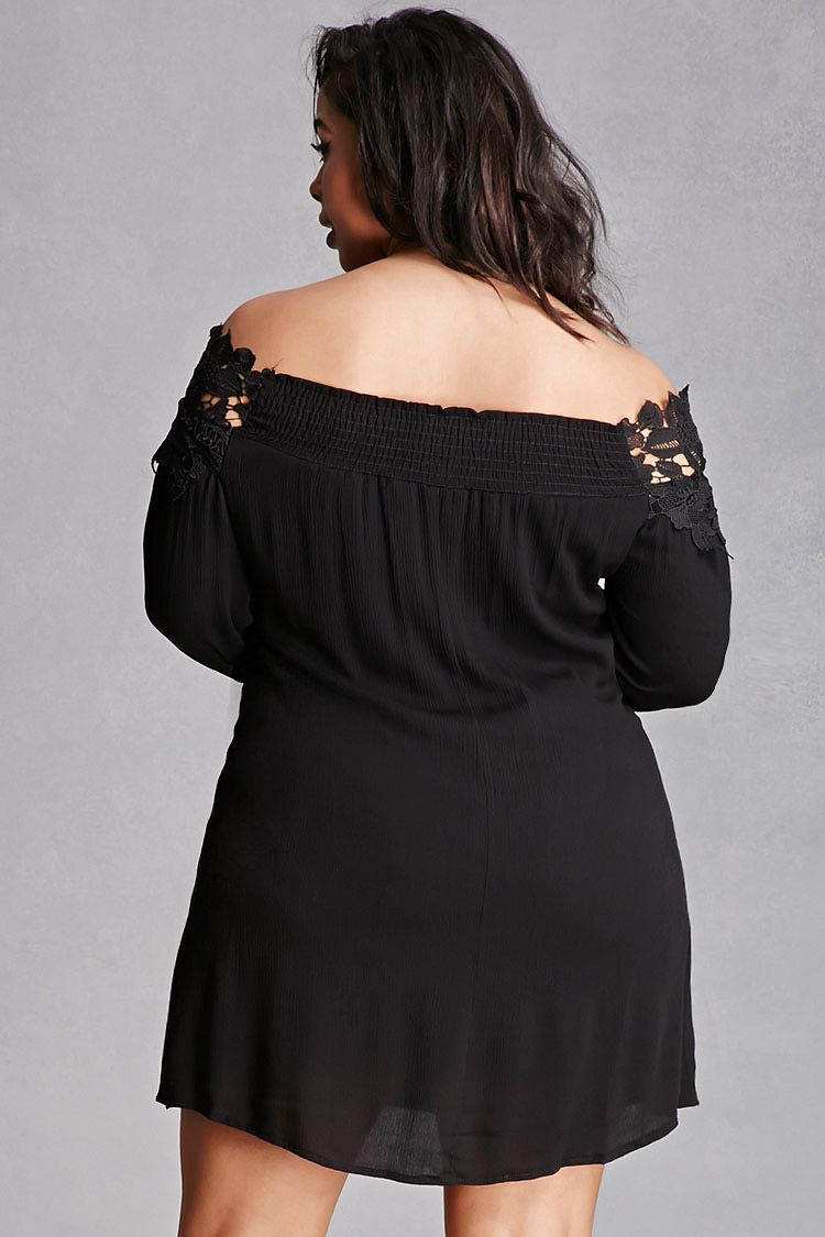 Forever 21+ - A crinkled woven mini swing dress featuring an off-the-shoulder neckline with floral crochet trim, 3/4 sleeves, and a smocked back. This is an independent brand and not a Forever 21 branded item.