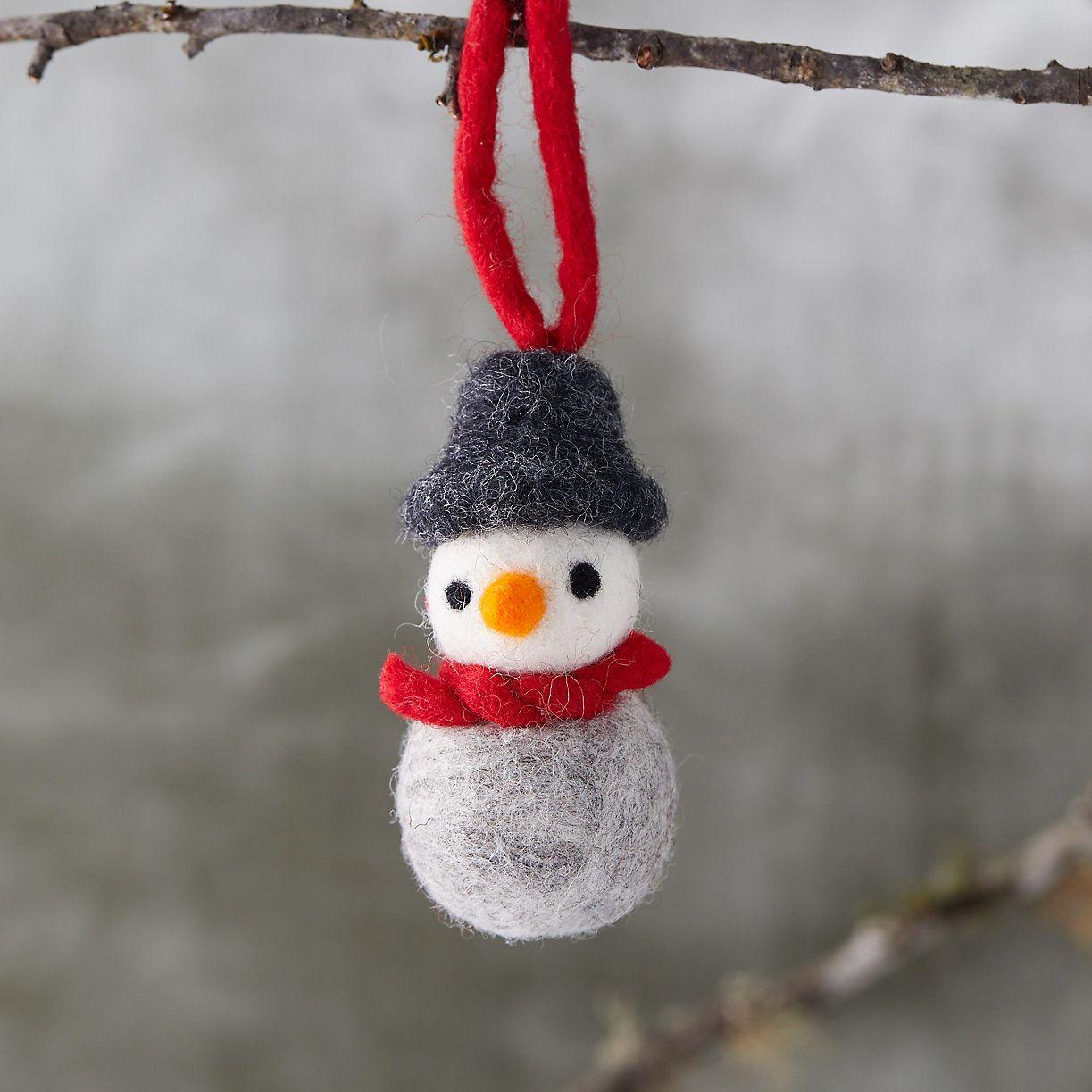 Felted Wool Snowman Ornament In 2020 Snowman Ornaments Wool Felt Felt Ornaments
